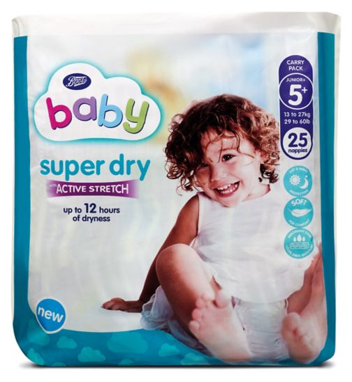 Boots Baby Super Dry with Active Stretch Junior Plus Nappies Size 5+