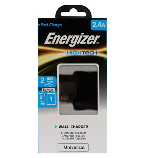 Energizer UK Wall Charger Adapter 2.4A 2x USB Black