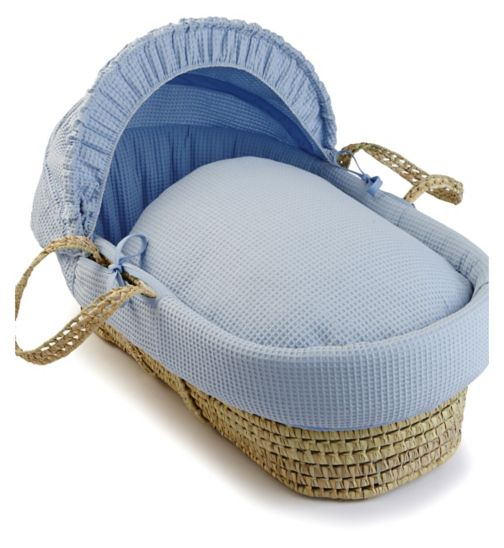 Clair de Lune Soft Cotton Waffle Moses Basket - Blue with Quilted Liner