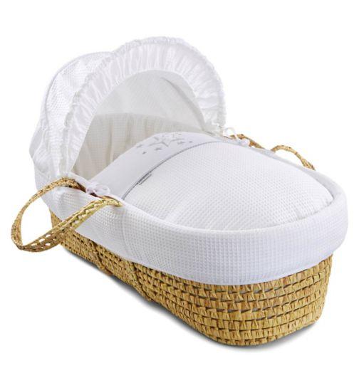 Clair de Lune Stardust Palm Moses Basket - White