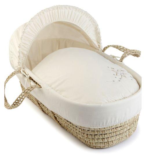 Clair de Lune Starburst Palm Moses Basket - Cream