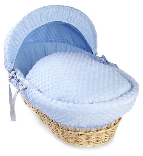 Clair de Lune Dimple Natural Wicker Moses Basket - Blue