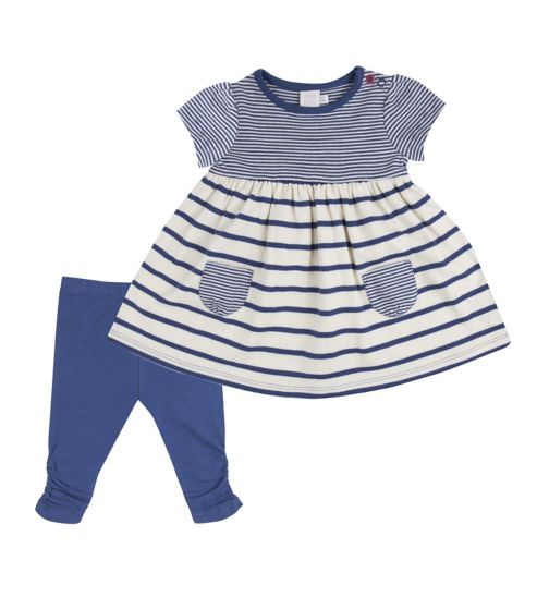 Mini Club Baby Girls Striped Dress and Legging Set