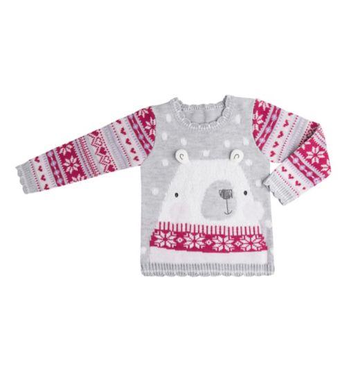Mini Club Girls Christmas Jumper Polar Bear