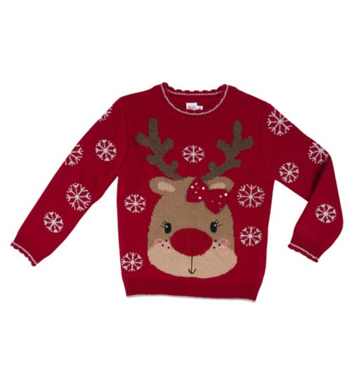 Mini Club Girls Christmas Jumper Reindeer