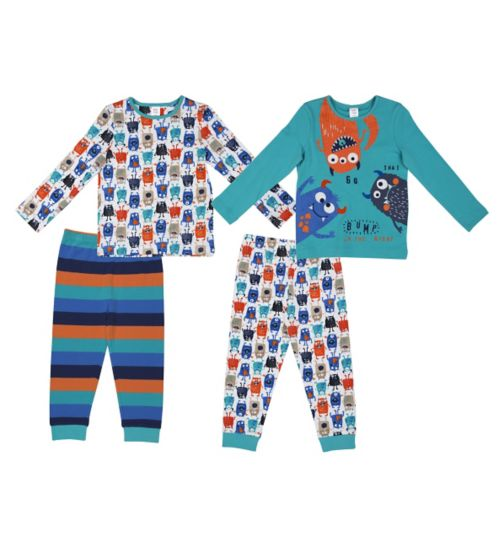 Mini Club Boys Pyjamas Monster 2 Pack