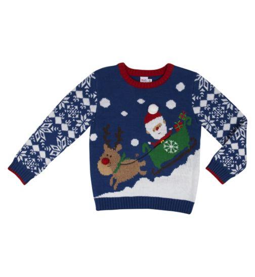 Mini Club Boys Christmas Jumper Santa and Sleigh