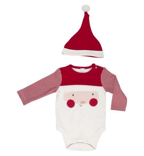 Mini Club Baby Santa Long Sleeve Bodysuit and Hat