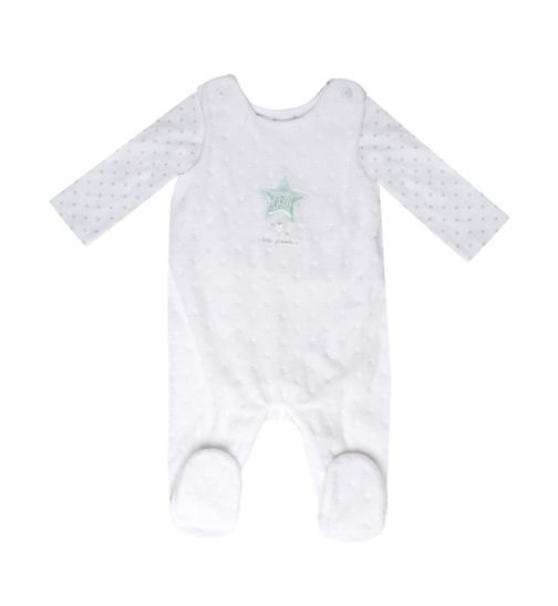 Mini Club Baby Dungaree and Bodysuit White Velour