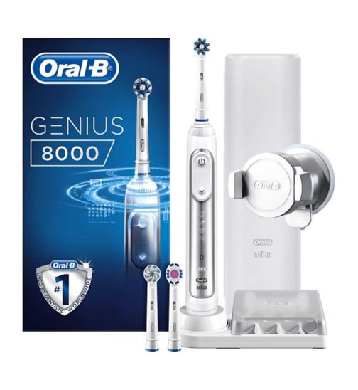 Oral-B GENIUS 8000 Silver Electric Toothbrush Powered by Braun