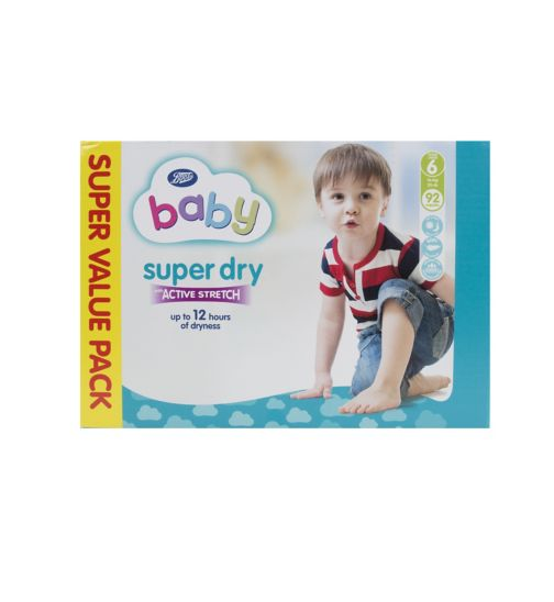 Boots Baby Super Dry with Active Stretch Super Value Pack Nappies (Extra Large) Size 6 - 92 Nappies