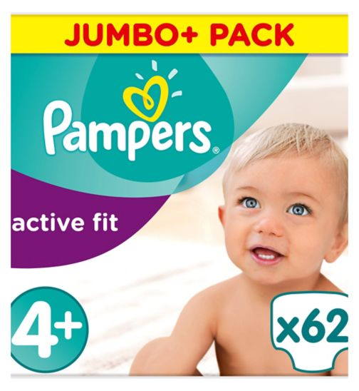 Pampers Active Fit Size 4+, 62 Nappies, 9-18kg,With Absorbing Channels