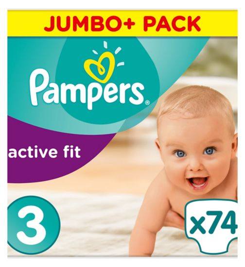 Pampers Active Fit Size 3, 74 Nappies, 5-9kg, With Magical Pods