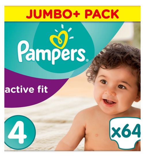 Pampers Active Fit Size 4, 64 Nappies, 8-16kg,With Absorbing Channels