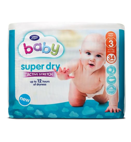 Boots Baby Super Dry with Active Stretch Nappies (Midi) Size 3 - 34 Nappies