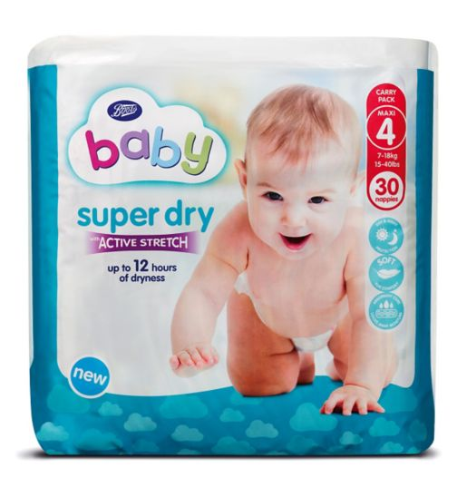 Boots Baby Super Dry with Active Stretch Nappies (Maxi) Size 4 - 30 Nappies
