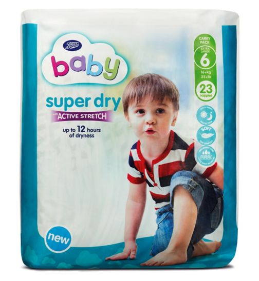 Boots Baby Super Dry with Active Stretch Nappies Carry Pack Extra Large Size 6 - 23 Nappies