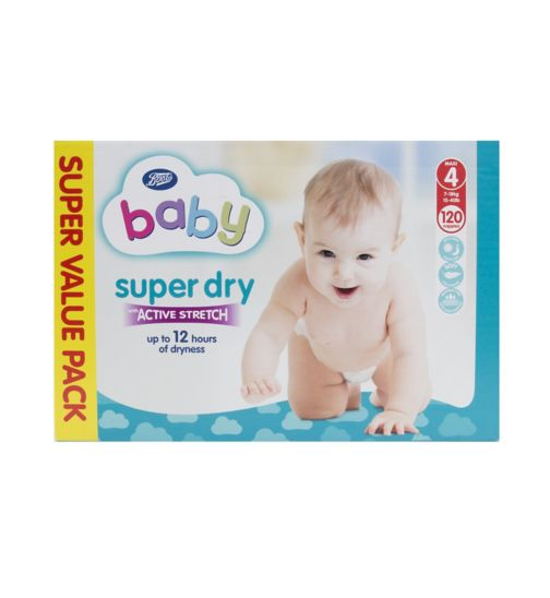 Boots Baby Super Dry with Active Stretch Super Value Pack Nappies (Maxi) Size 4 - 120 Nappies