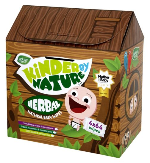 Jackson Reece Kinder by Nature Treehouse Herbal Baby Wipes 4 x 64 Pack