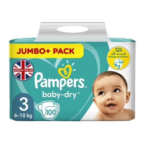 Pampers Baby-Dry Size 3,100 Nappies, 5-9kg, With 3 Absorbing Channels