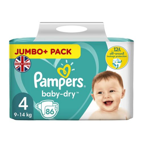 Pampers Baby-Dry Size 4, 86 Nappies, 8kg-16kg, With 3 Absorbing Channels