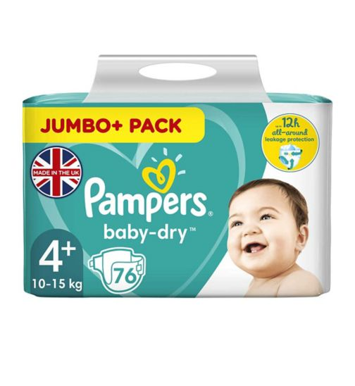 Pampers Baby Dry Size 4+ (Maxi+) Jumbo Plus Pack 76 Nappies