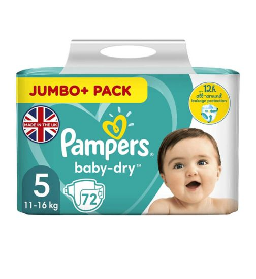 Pampers Baby-Dry Size 5, 72 Nappies,11kg-23kg, With 3 Absorbing Channels