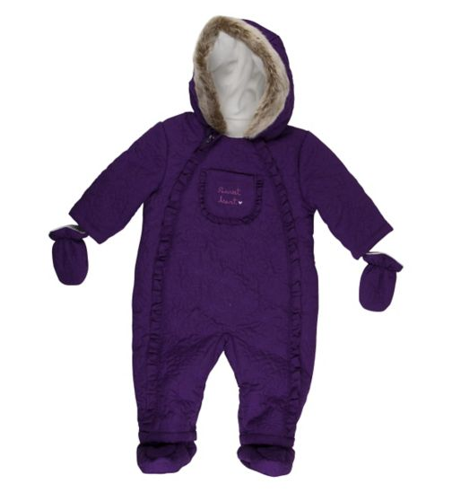 Mini Club Baby Girls Snowsuit Purple Floral