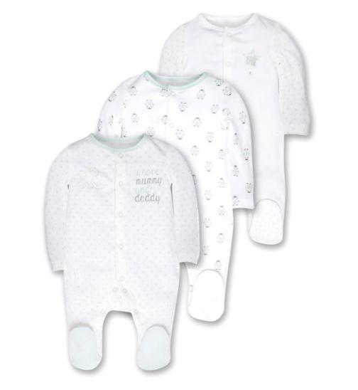 Mini Club Baby Unisex Pack of 3 Long Sleeve Sleepsuits