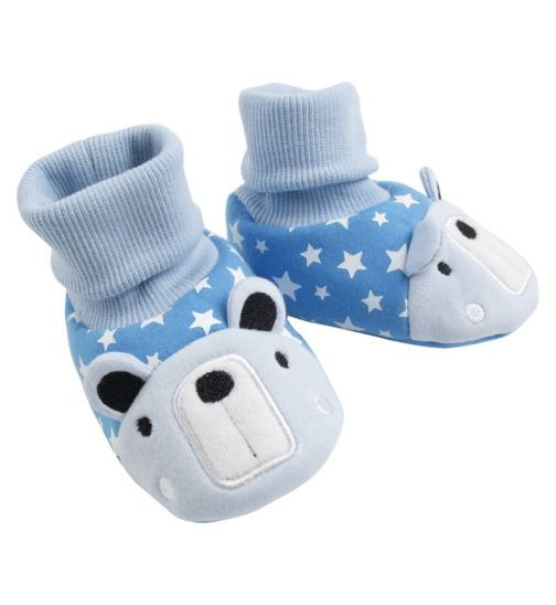 Mini Club Baby Boys Booties Bear Blue