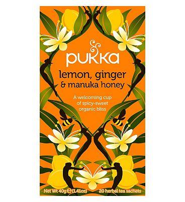 Pukka Lemon, Ginger & Manuka Honey 20 Herbal Tea Sachets 40g