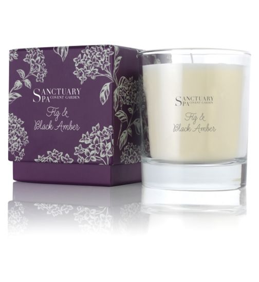 Sanctuary Spa Fig & Black Amber Candle 200g