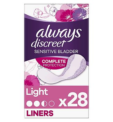 Always Discreet Incontinence Liners Light 28, For Sensitive Bladder