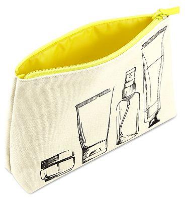 Boots Illustration Yellow Zip Beauty Bag