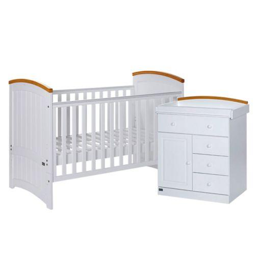 Tutti Bambini Barcelona 2 Piece Nursery Room Set - Beech/White