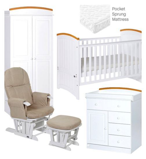 Tutti Bambini Barcelona 5 Piece Nursery Room Set - Beech/White