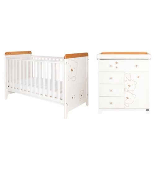 Tutti Bambini Bears 2 Piece Nursery Room Set - Beech/White
