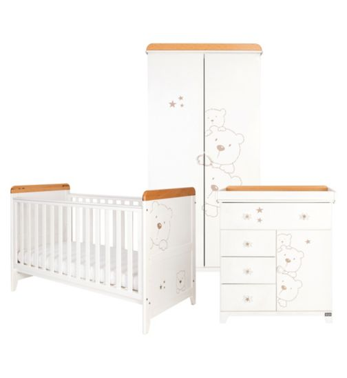 Tutti Bambini Bears 3 Piece Nursery Room Set - Beech/White