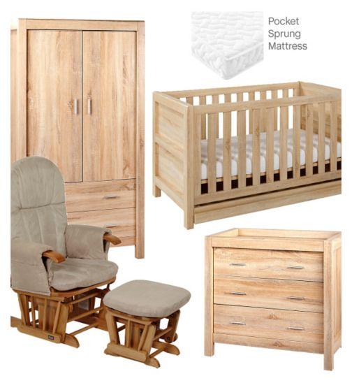 Tutti Bambini Milan 5 Piece Nursery Room Set - Reclaimed Oak