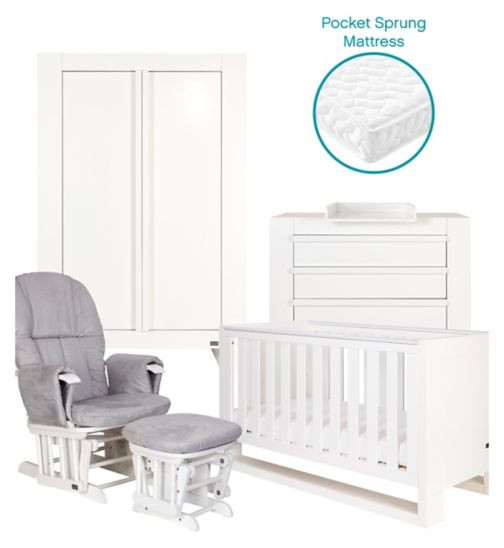 Tutti Bambini Rimini 5 Piece Room Set - High Gloss White