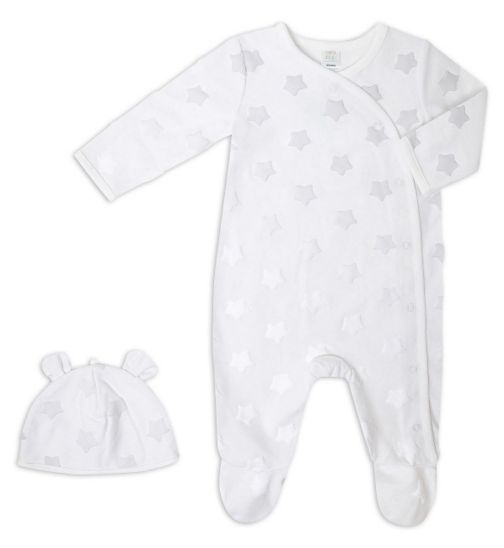 Mini Club Baby All In One And Hat White Plush