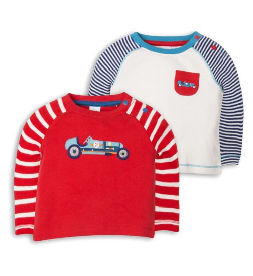 Mini Club Baby Boys 2 Pack Long Sleeve Tops Car
