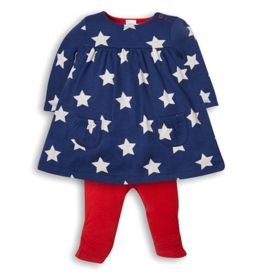 Mini Club Baby Girls Dress and Legging Set Star