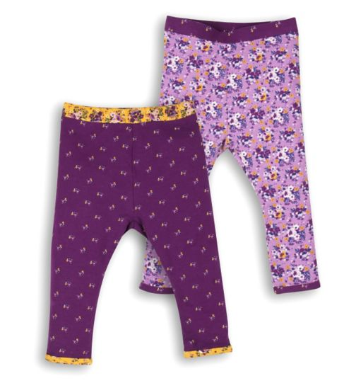Mini Club Baby Girls Legging 2 Pack Purple Floral