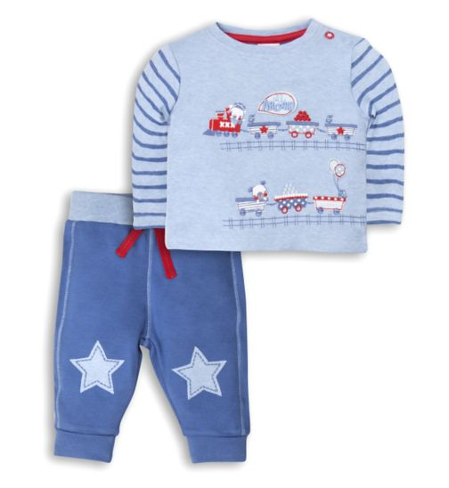 Mini Club Baby Boys 2 Piece Set Blue Train