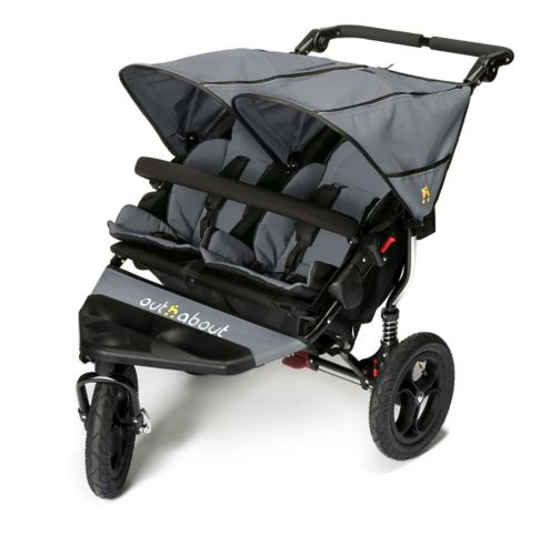 Out 'n' About Nipper Double V4 Pushchair - Steel Grey