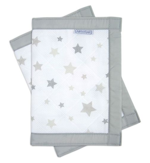 Airwrap Printed 2 Sided Cot Bumpers - Silver Stars