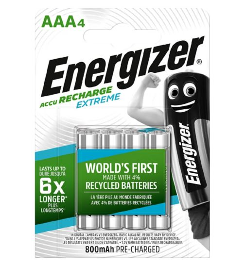 Energizer Extreme Recharge Battery AAA x 4