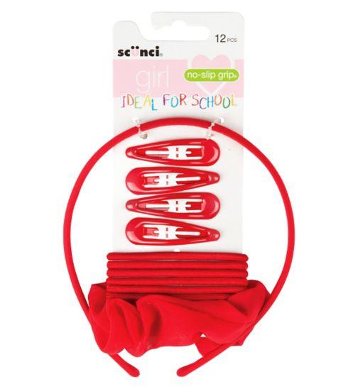 Scunci Girl School Set Red 12s