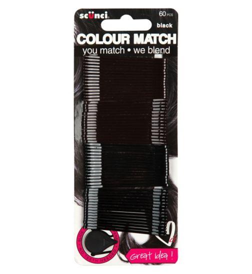 Scunci Colour Match Black Bobby Pins 60s